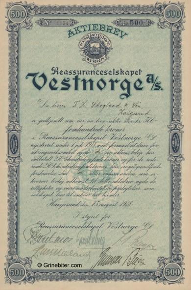 Vestnorge Reassurance Stock Certificate Aksjebrev