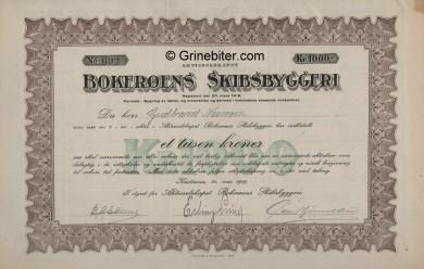 Bokerøens Skibsbyggeri Stock Certificate Aksjebrev