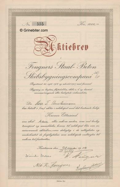 Fougners Staal-Beton Skibsbygningscompani Stock Certificate Aksjebrev