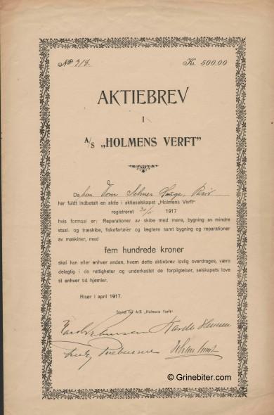 Holmens Verft Stock Certificate Aksjebrev