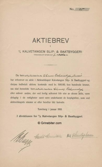 Kalvetangen Slip- & Baatbyggeri Stock Certificate Aksjebrev