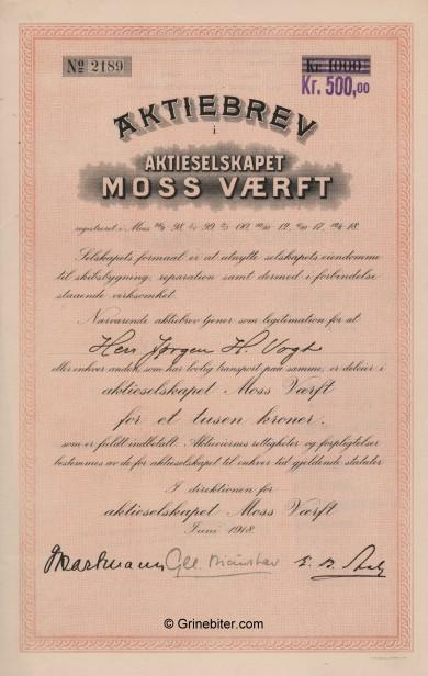 Moss Værft Stock Certificate Aksjebrev