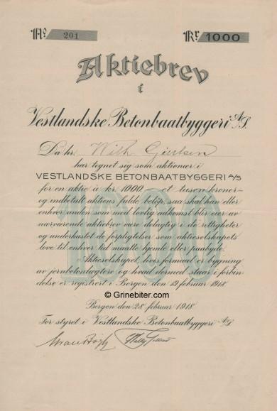 Vestlandske Betonbaatbyggeri Stock Certificate Aksjebrev