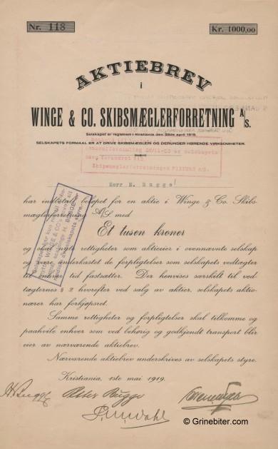 Winge og Co. Skibsmæglerforretning Stock Certificate Aksjebrev