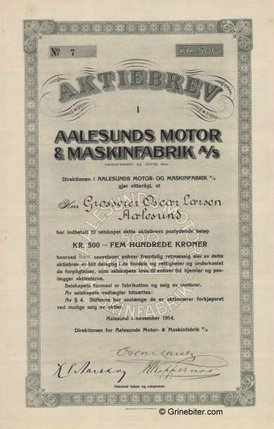 Aalesunds Motor & Maskinfabrik Stock Certificate Aksjebrev