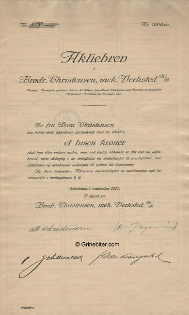 Brødr. Christensen, mek. Verksted Stock Certificate Aksjebrev