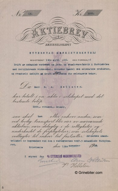 Etterstad Maskinverksted Stock Certificate Aksjebrev