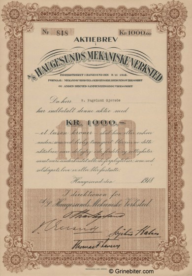 Haugesunds Mekaniske Verksted Stock Certificate Aksjebrev
