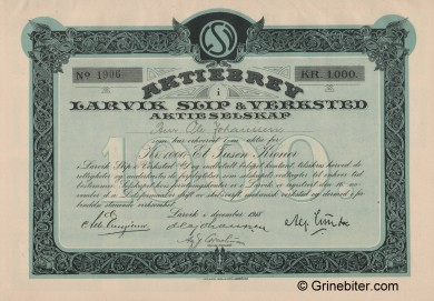 Larvik Slip & Verksted Stock Certificate Aksjebrev