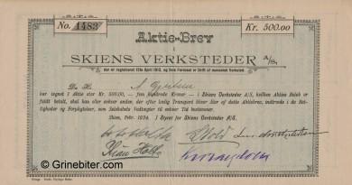 Skiens Verksteder A/S Stock Certificate Aksjebrev