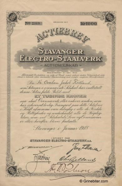Stavanger Electro-Mek. Verksted  Stock Certificate Aksjebrev