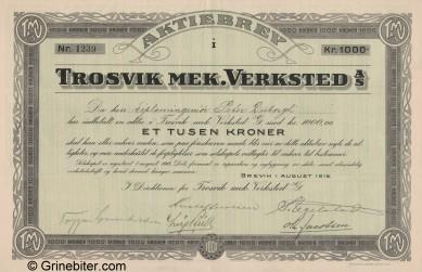 Trosvik Mek. Verksted Stock Certificate Aksjebrev