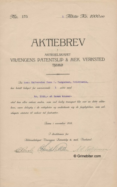Vrængens Patentslip & Mek. Verksted Stock Certificate Aksjebrev
