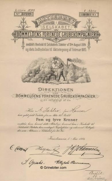 Bømmeløens GR/Comp. Stock Certificate Aksjebrev
