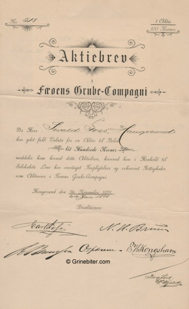 Fæøens Grube-Compani Stock Certificate Aksjebrev
