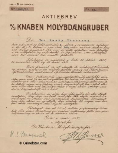 Knaben Molybdængruber Stock Certificate Aksjebrev