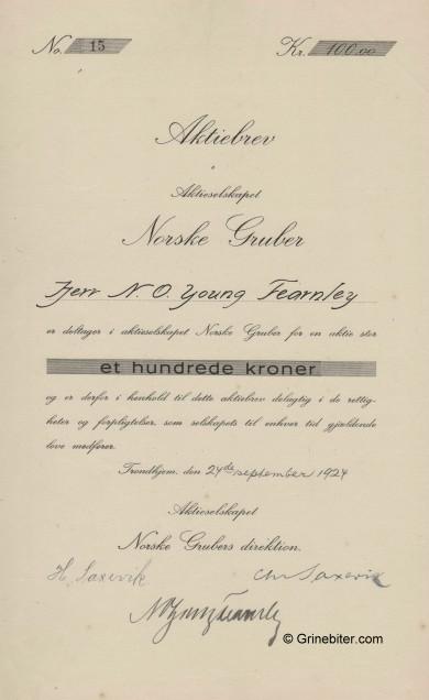 Norske Gruber A/S Stock Certificate Aksjebrev