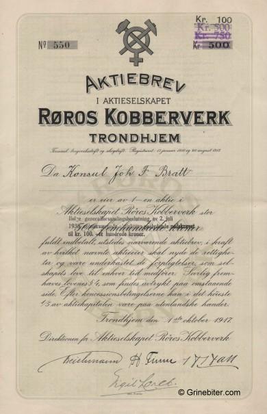 Røros Kobberverk aksjebrev old stock Certificate