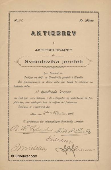 Svendsvika Jernfelt A/S Stock Certificate Aksjebrev