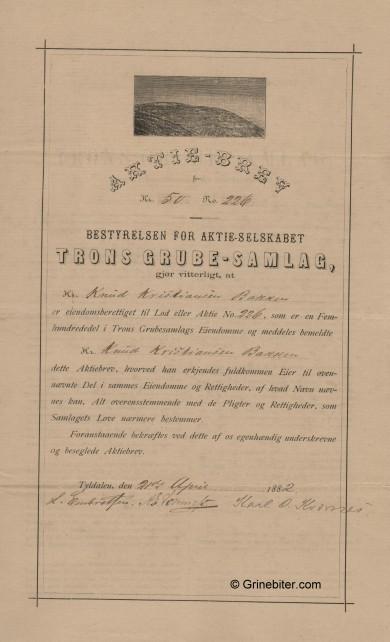 Trons Grube-Samlag A/S Stock Certificate Aksjebrev