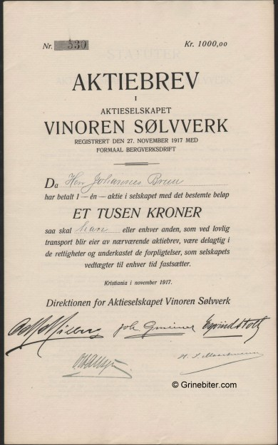 Vinoren Sølvverk aksjebrev old stock Certificate
