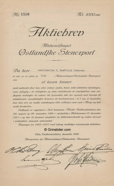 østlanske Stenexport Stock Certificate Aksjebrev