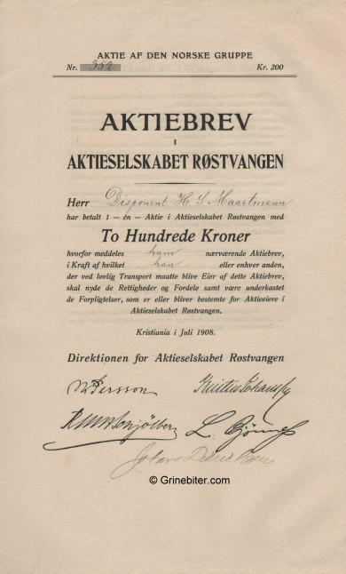 Røstvangen Stock Certificate Aksjebrev