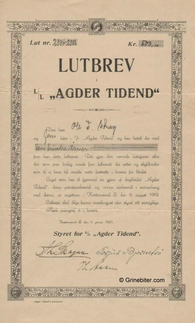 AgderTidene L/L Stock Certificate Aksjebrev
