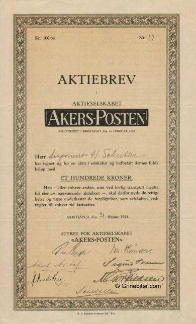 Akers-Posten A/S Stock Certificate Aksjebrev