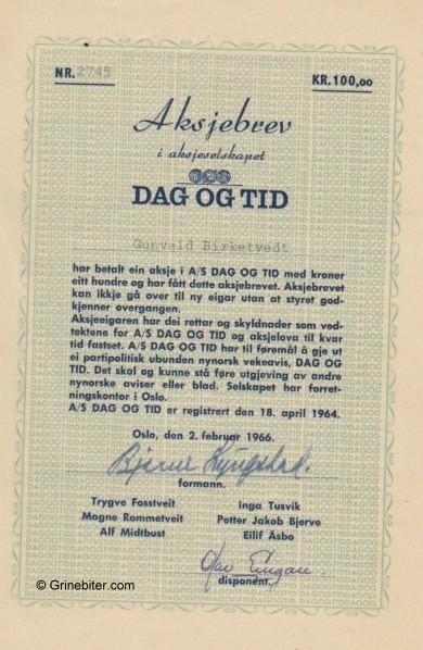 Dag Og Tid A/S  Stock Certificate Aksjebrev