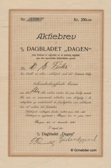 Dagbladet Dagen A/S Stock Certificate Aksjebrev