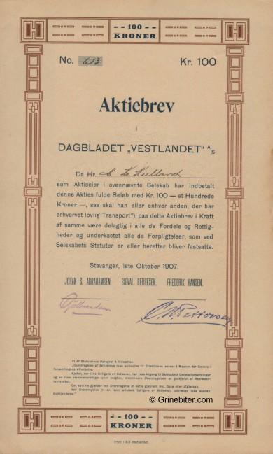 Dagbladet Vestlandet A/S Stock Certificate Aksjebrev