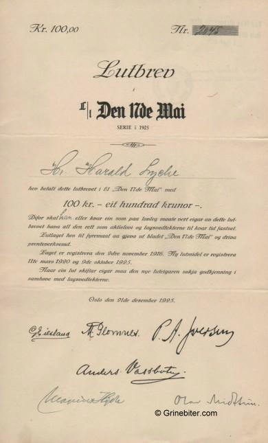 Den 17de Mai L/L Stock Certificate Aksjebrev