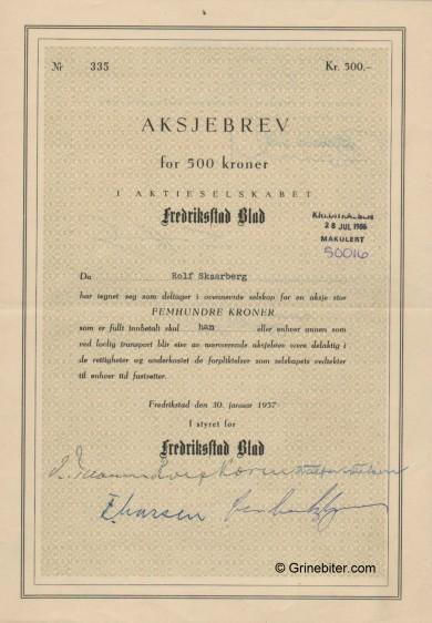 Fredriksstad Blad A/S Stock Certificate Aksjebrev