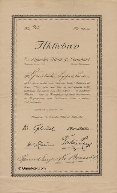 Gjøviks Blad & Samhold Stock Certificate Aksjebrev