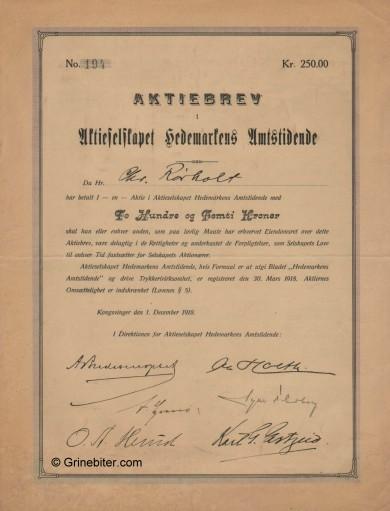 Hedemarkens Amtstidene Stock Certificate Aksjebrev