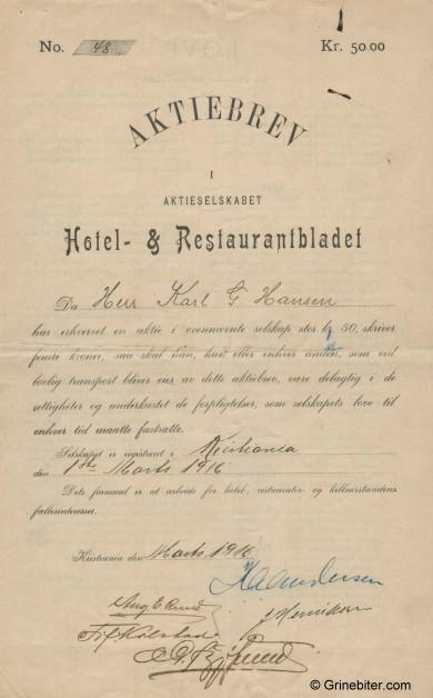 Hotel- & Restaurantbladet Stock Certificate Aksjebrev