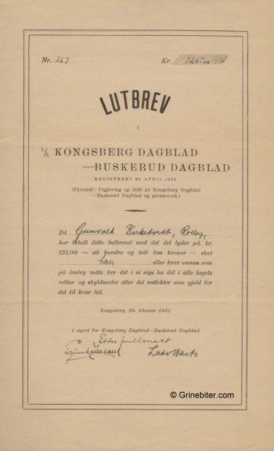 Kongsberg Busk. Dag/Blad Stock Certificate Aksjebrev