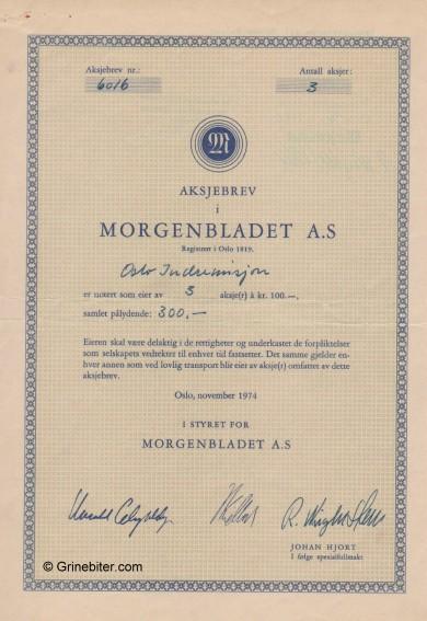 Morgenbladet A/S Stock Certificate Aksjebrev