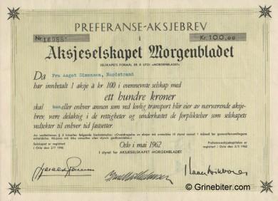 Morgenbladet Pref/AB Stock Certificate Aksjebrev