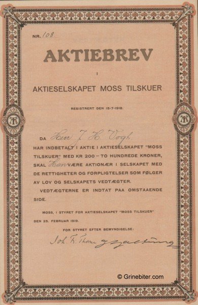 Moss Tilskuer A/S Stock Certificate Aksjebrev