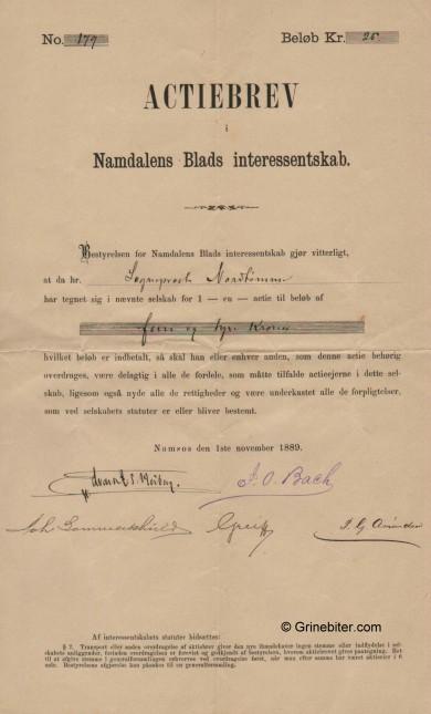 Namdalens Blands Inters. Stock Certificate Aksjebrev