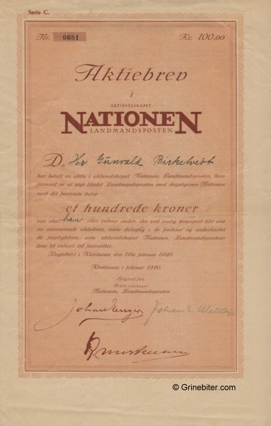 Nationen A/S Stock Certificate Aksjebrev