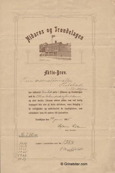 Nidaros og Trøndelagen Stock Certificate Aksjebrev