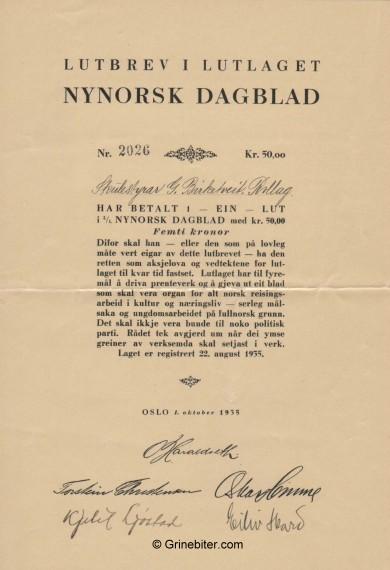 Nynorsk Dagblad L/L Stock Certificate Aksjebrev