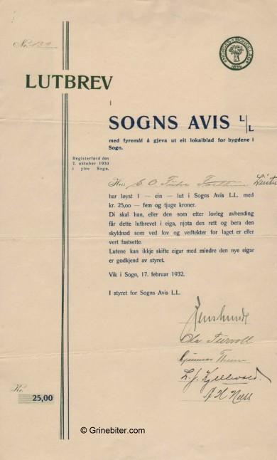 Sogns Avis L/L Stock Certificate Aksjebrev