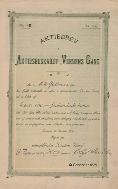 Verdens Gang A/S Stock Certificate Aksjebrev