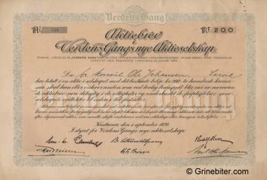 Verdens Gangs Nye Akiteselskap Stock Certificate Aksjebrev