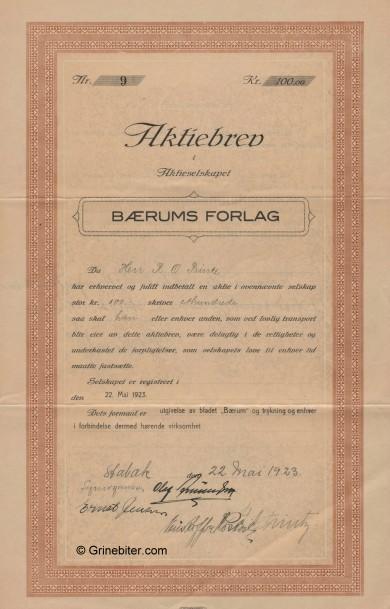 Bærums Forlag A/S Stock Certificate Aksjebrev