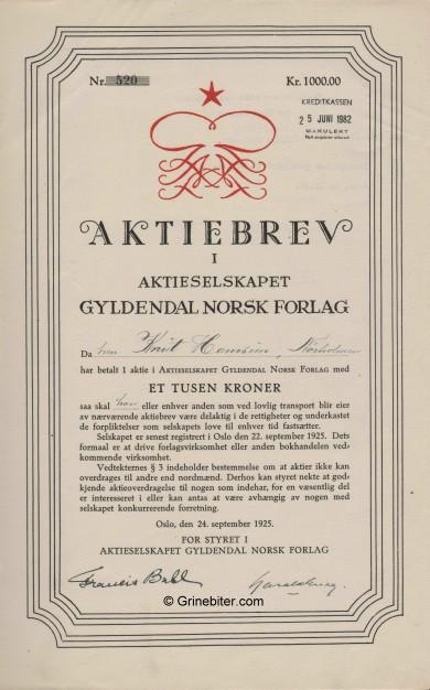 Gyldendal Norsk Forlag A/S Stock Certificate Aksjebrev